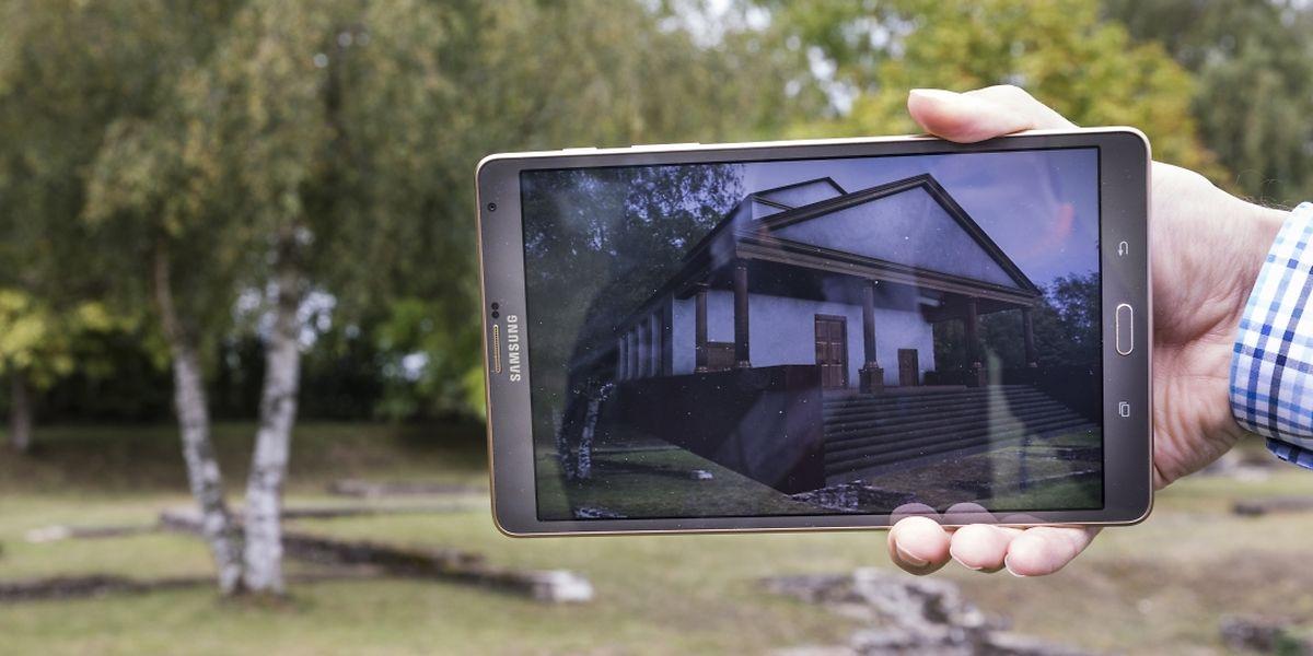 Originalgetreu erscheint der virtuelle Tempel der Siedlung Ricciacum auf dem Bildschirm.