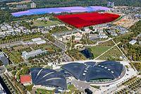 Kuebebierg (blau, 33 Hektar) und Laangfur (rot, 24 Hektar): Hier werden in den kommenden 20 Jahren 3.678 Wohnungen gebaut.