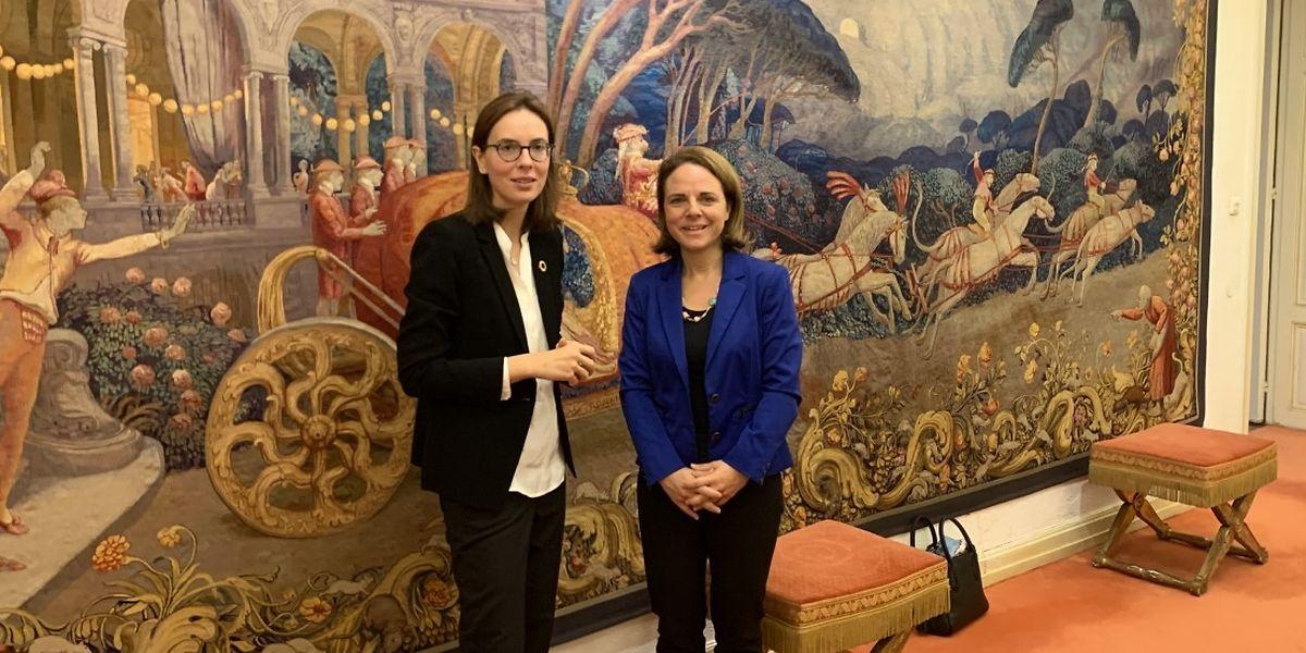 Juste avant d'assister à la visite d'État des monarques belges, Corinne Cahen a reçu la secrétaire d'État française aux Affaires européennes.