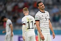 TOPSHOT - Germany's defender Mats Hummels reacts during the UEFA EURO 2020 Group F football match between France and Germany at the Allianz Arena in Munich on June 15, 2021. (Photo by Matthias Hangst / POOL / AFP)