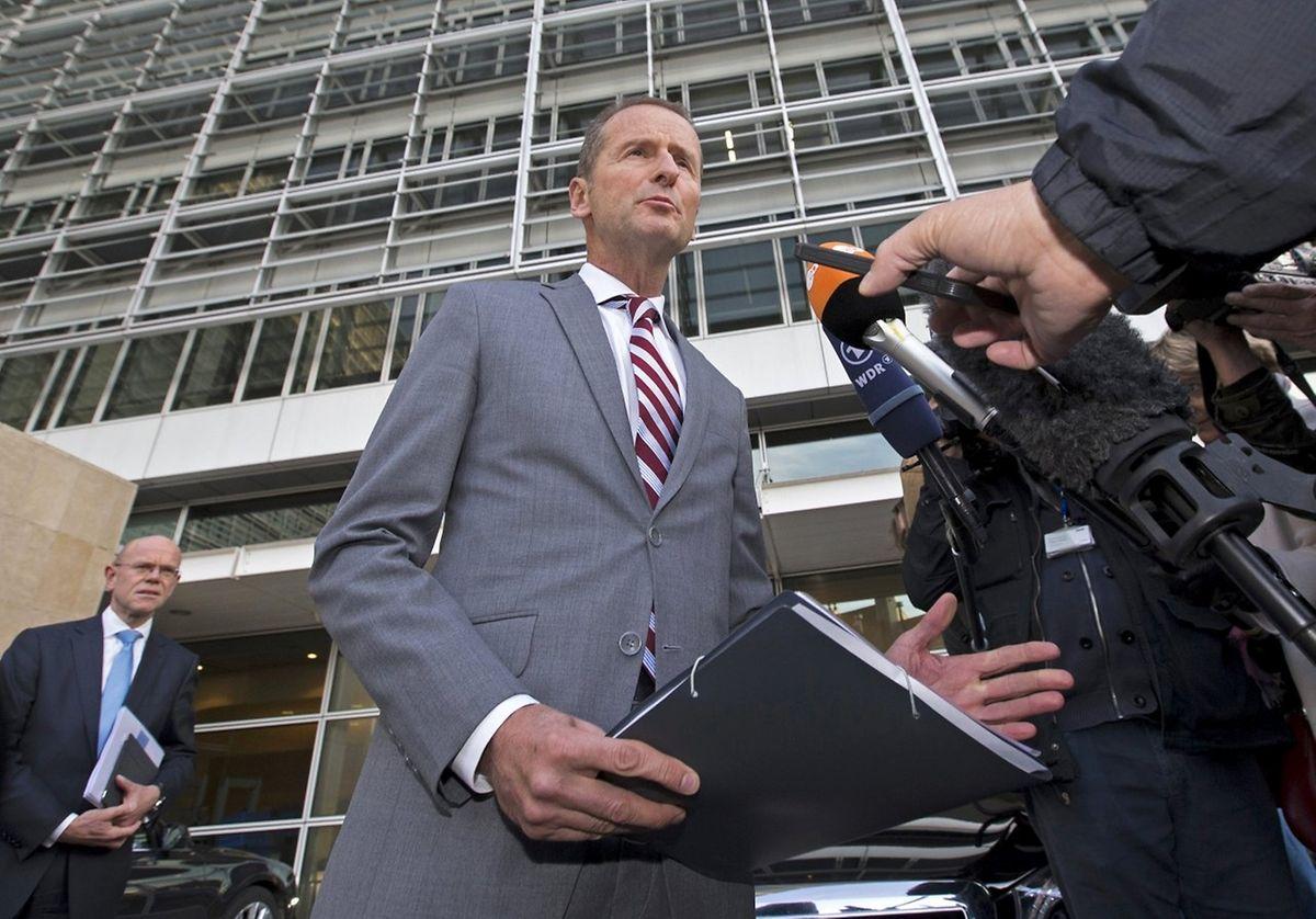 VW-Markenchef Herbert Diess bei seiner Ankunft in Brüssel.