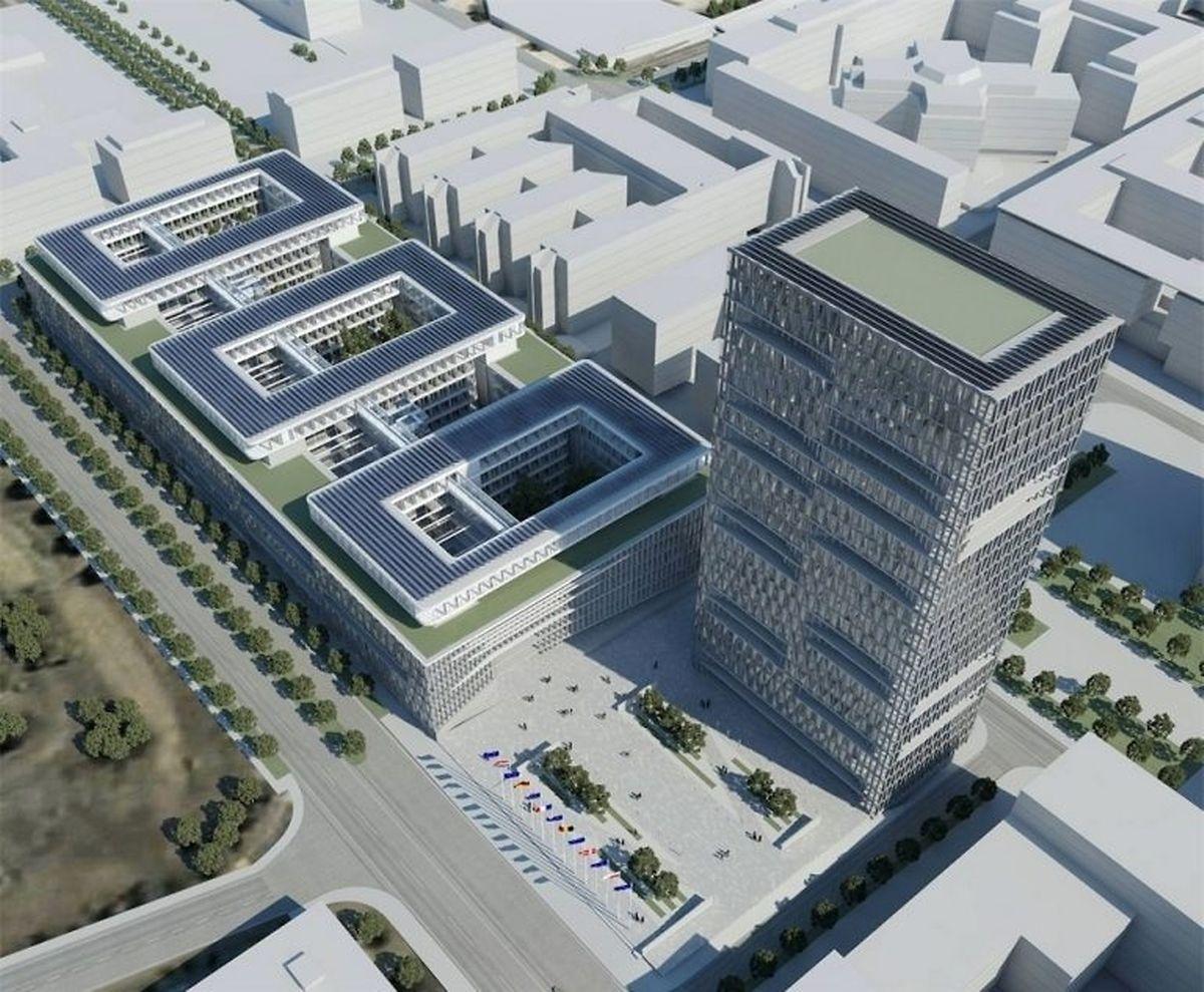A terme, le nouveau site de la Commission comprendra un bâtiment central de sept étages et une tour de 23 étages pouvant accueillir plus de 3.600 agents.
