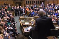 """A still image taken from footage broadcast by the UK Parliamentary Recording Unit (PRU) on November 4, 2019 shows Lindsay Hoyle speaking in the House of Commons in London, after being elected as the new Speaker of the House of Commons. - British MPs will on November 4 select the new speaker of the House of Commons, once an unremarkable event but one now charged with significance following the previous occupant's role in Brexit. (Photo by PRU / PRU / AFP) / RESTRICTED TO EDITORIAL USE - MANDATORY CREDIT """" AFP PHOTO / PRU """" - NO USE FOR ENTERTAINMENT, SATIRICAL, MARKETING OR ADVERTISING CAMPAIGNS"""