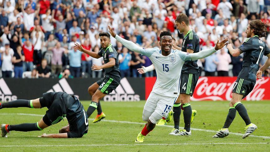 England's Daniel Sturridge celebrates scoring their second goal