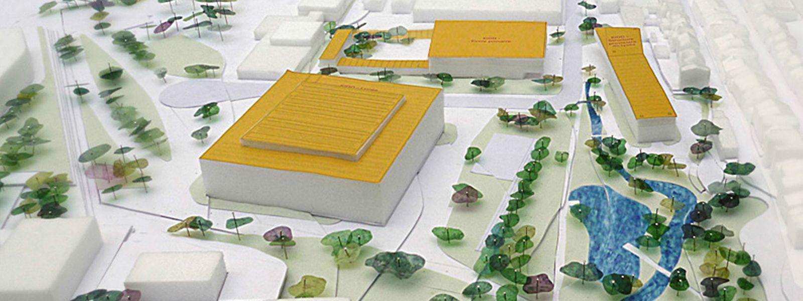 """Die Grundschule (im Hintergrund) soll 2022 eröffnen, das Lyzeum (im Vordergund) voraussichtlich 2020. Bereits in Betrieb ist das """"Bâtiment provisoire"""" (links)."""
