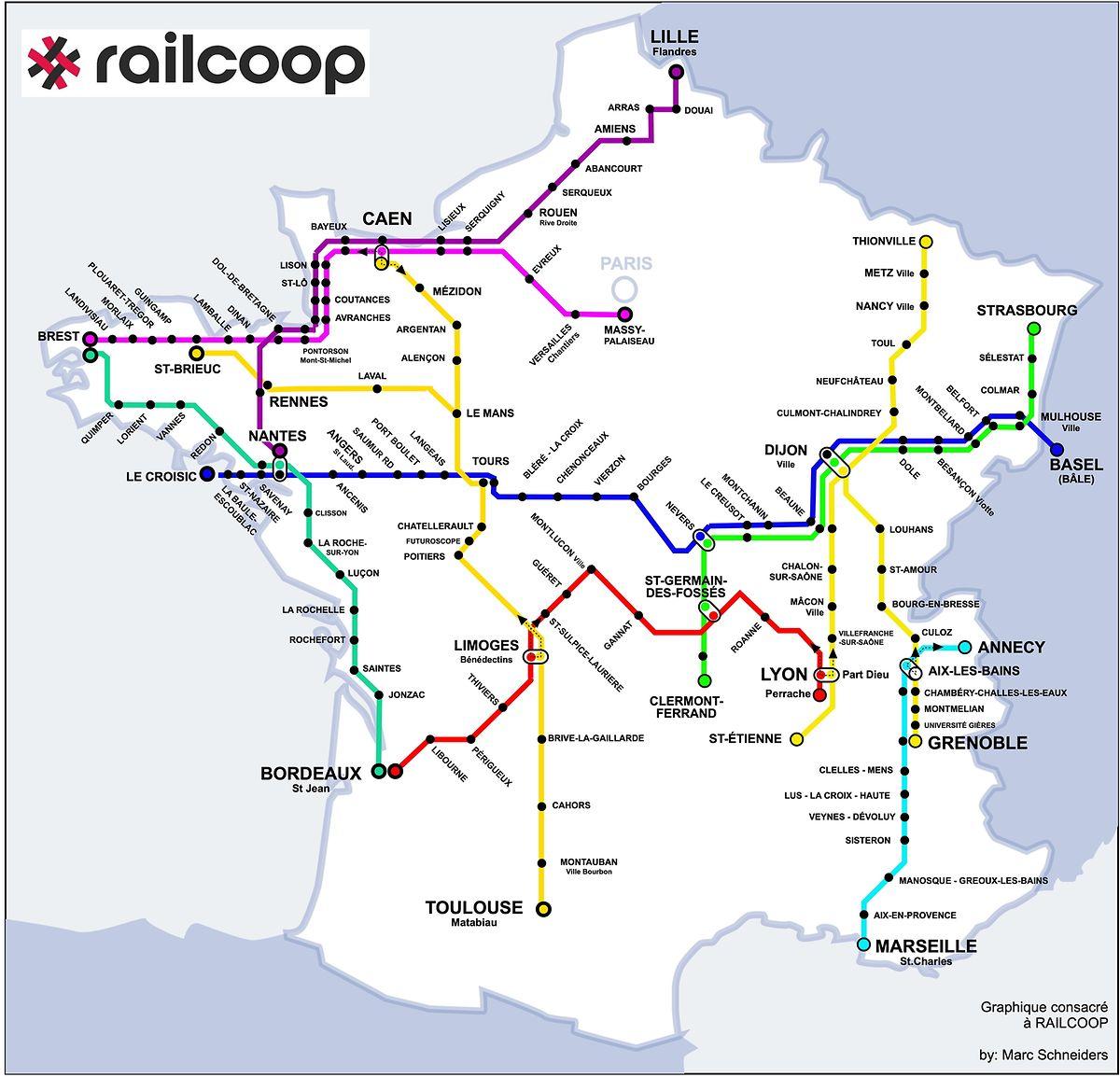 Cartographie des ouvertures de ligne envisagées par Railcoop.