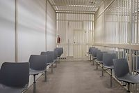 A view taken on December 15, 2020 in Lamezia Terme, Calabria, shows one of the detained defendants' cells inside a new bunker room built for the upcoming 'Rinascita-Scott' maxi-trial in which more than 350 alleged members of Calabria's 'Ndrangheta mafia group and their associates go on trial this week. - The 'Ndrangheta, rooted in the southern region of Calabria, has surpassed Sicily's more famous Cosa Nostra to become Italy's most powerful mafia group, which operates across the world. (Photo by Gianluca CHININEA / AFP)