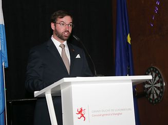 Prince Guillaume speaks at a conference during his visit to China in May, 2016