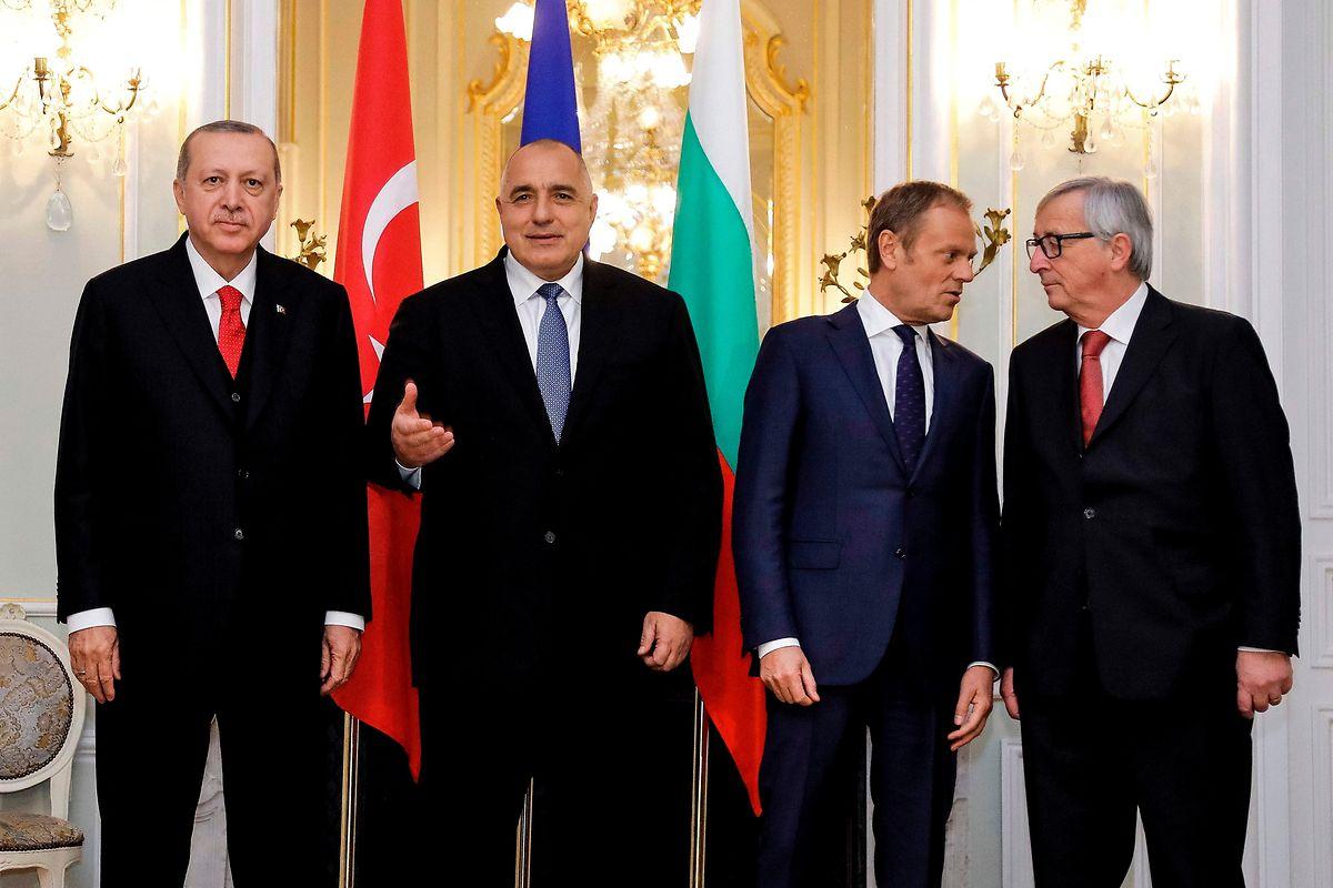 Recep Tayyip Erdogan, der bulgarische Premier Boyko Borissov, Donald Tusk und Jean-Claude Juncker.