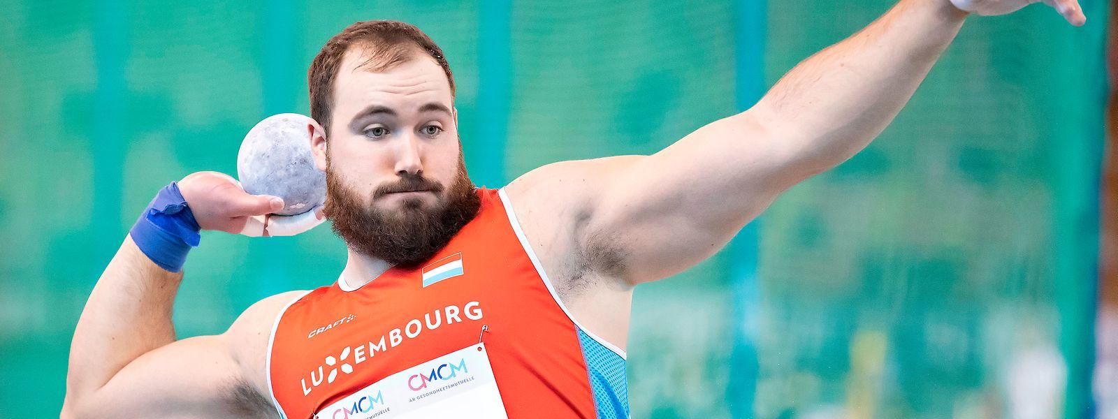 Bob Bertemes kann in Torun nicht an seine Saisonbestleistung von 20,65 m heranreichen.