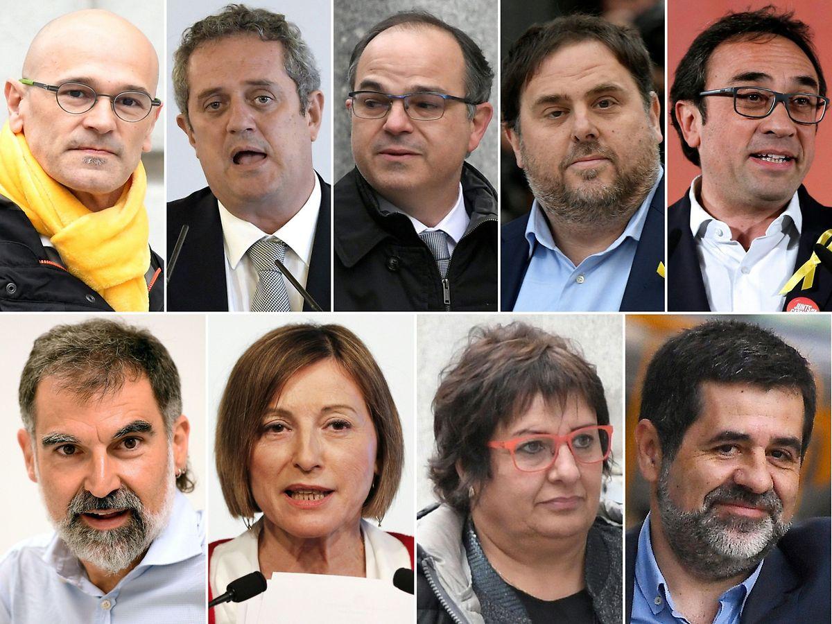 (en haut sur la photo) Raul Romeva, Joaquim Forn, Jordi Turull, Oriol Junqueras, Josep Rull (en bas) Jordi Cuixart, Carme Forcadell, Dolors Bassa et Jordi Sanchez.