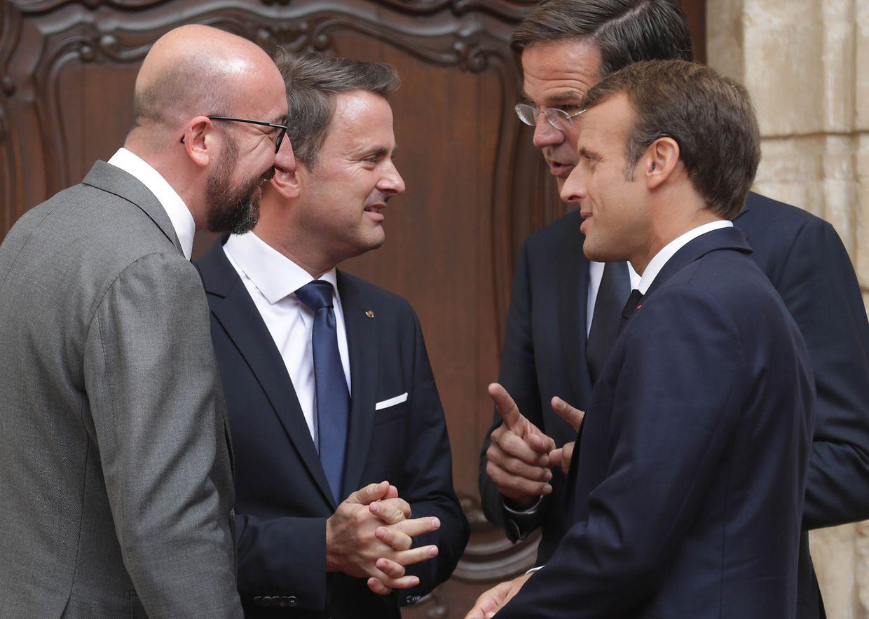Visite de travail d'Emmanuel Macron, Mark Rutte, Charles Michel et Xavier Bettel, au château de Bourglinster.