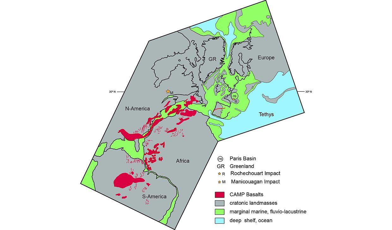 Verteilung von Kontinent und Ozean vor 200 Millionen Jahren: PB markiert das Pariser Becken, R den Krater von Rochechouart. Vom großen Ozean des Erdmittelalters, der Tethys, dringt das Meer in den aufbrechenden Atlantik ein und überflutet das europäische Festland. Die roten Flächen kennzeichnen die Eruptivgesteine – Flutbasalte und Gänge – , die über drei Kontinente verteilt sind.