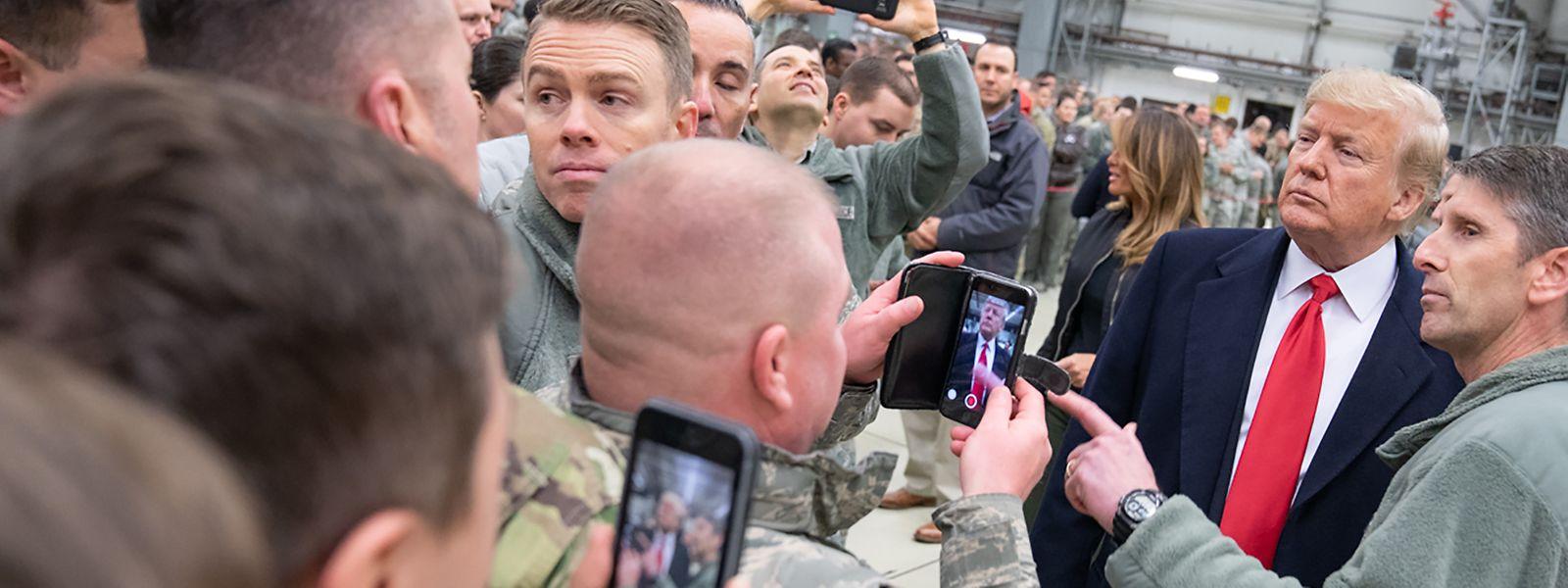 Donald Trump bei einem Besuch der US-Militärbasis in Ramstein (Rheinland-Pfalz) im Dezember 2018.