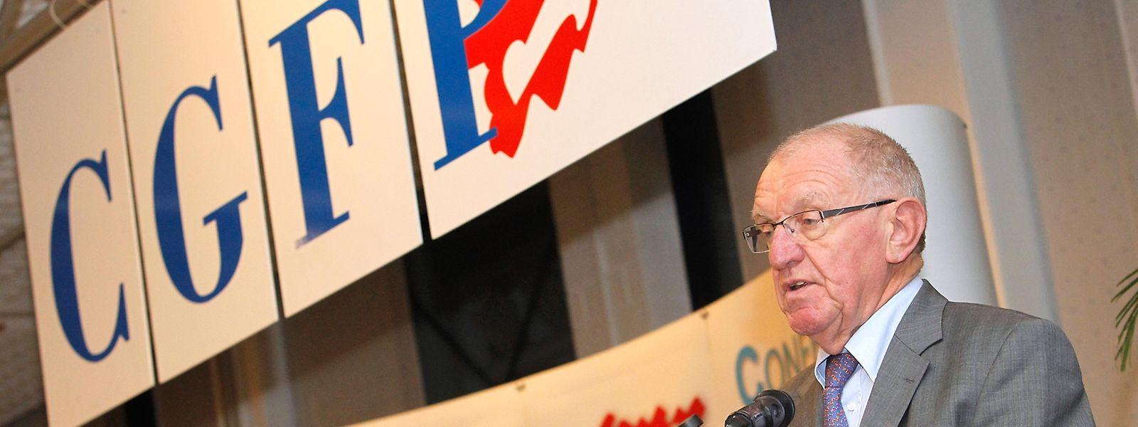 Fast 30 Jahre prägte Emile Haag die öffentlichen Auftritte des CGFP, hier während einer Verkündung im Dezember 2012.