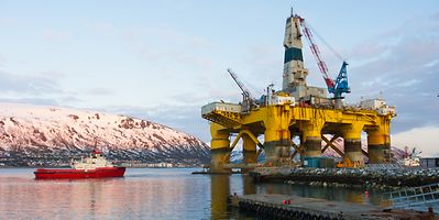 An oil platform in Tromso, Norway