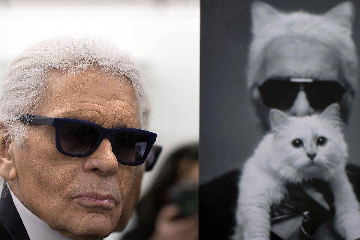 Em 2014, ao lado de uma foto com o seu gato Choupette, em Paris. A seguir à moda, o animal de estimação era a grande paixão de Karl.