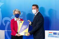 IPO , APO , Besuch EU Kommissionspräsidentin Ursula von der Leyen in Luxemburg , bei SES , Betzdorf , Xavier Bettel , Pierre Gramegna , Foto:Guy Jallay/Luxemburger Wort