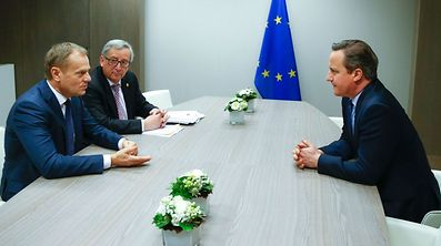 British Prime Minister David Cameron attends a meeting with and European Council President Donald Tusk and European Commission President Jean Claude Juncker during a European Union leaders summit addressing the talks about the so-called Brexit and the migrants crisis in Brussels on February 19, 2016.