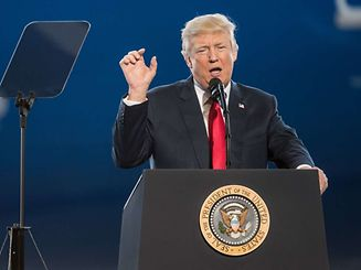 U.S. President Donald Trump addresses a crowd during the debut event for the Dreamliner 787-10 at Boeing's South Carolina facilities on February 17