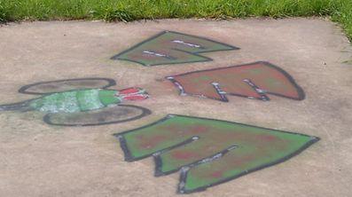 Graffiti auf der Zugangsplattform zum Monument. (Foto: Frank Weyrich) / Foto: Frank WEYRICH