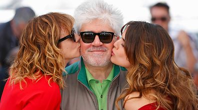 "Director Pedro Almodovar, cast members Emma Suarez (L) and Adriana Ugarte (R) pose during a photocall for the film ""Julieta"" in competition at the 69th Cannes Film Festival in Cannes, France, May 17, 2016.      REUTERS/Yves Herman  TPX IMAGES OF THE DAY"