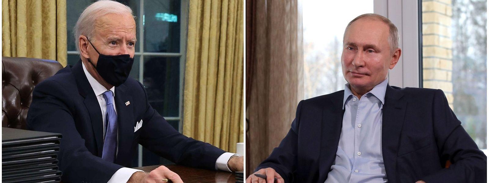 Es war das erste Telefonat zwischen Joe Biden (l.) und Wladimir Putin nach Bidens Amtsantritt.
