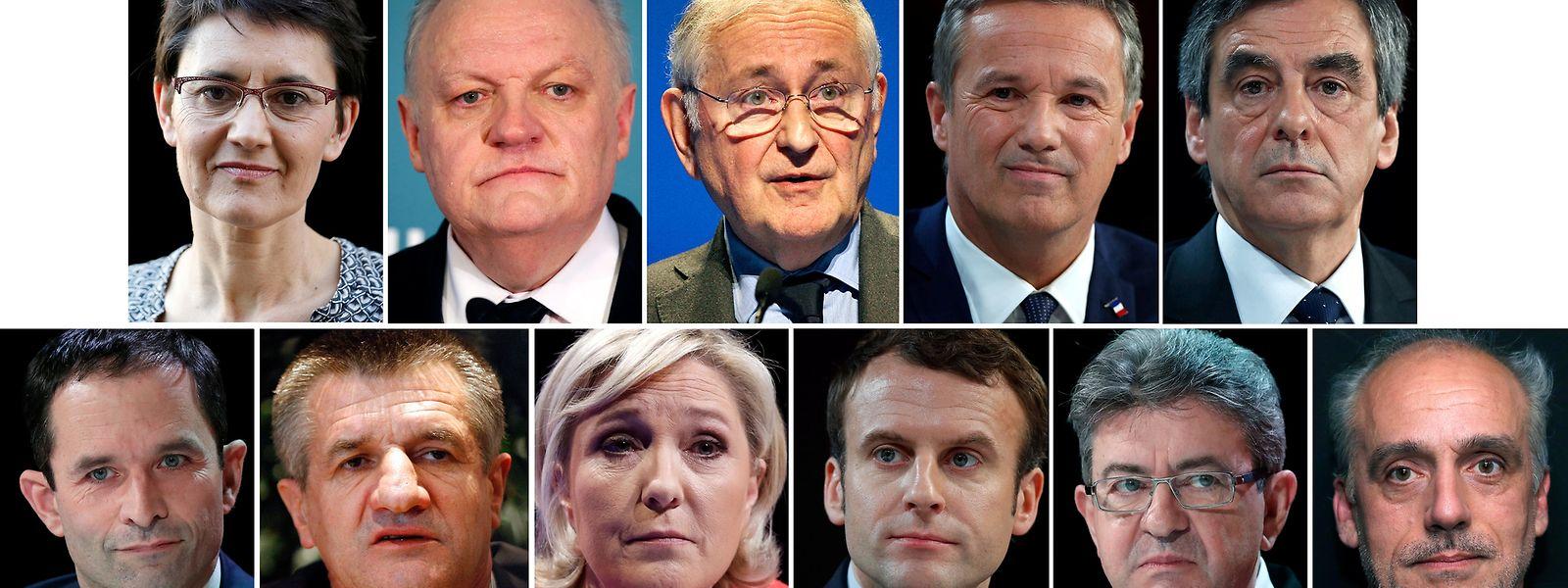 Elf Kandidaten gehen am 23. April bei den Präsidentschaftswahlen in Frankreich ins Rennen.