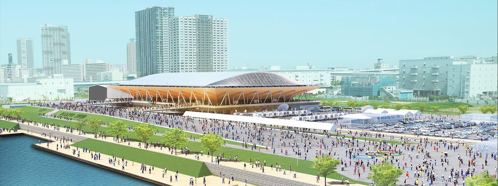 Aux lignes futuristes, l'Ariake Gymnastics Centre, situé en plein Tokyo, utilise 2.300 mètres cubes de bois