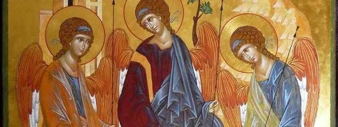 Ikone der Dreifaltigkeit von Andrej Rublev (15. Jhd).