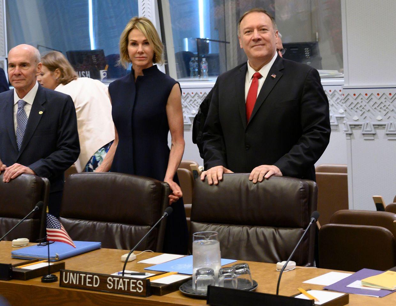 Der US-Außenminister Mike Pompeo vor einem Treffen mit dem russischen Außenminister Sergey Lavrov.