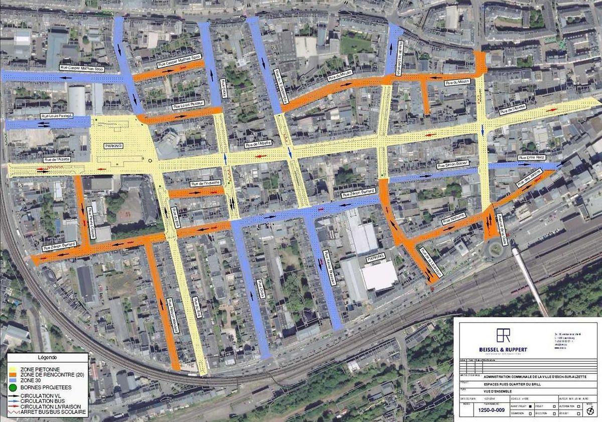 """Das """"Zebridi""""-Konzept: Gelb eingezeichnet ist die Fußgängerzone, orange eingetragen sind die Begegnungszonen (Tempo 20) und blau die Tempo-30-Straßen."""