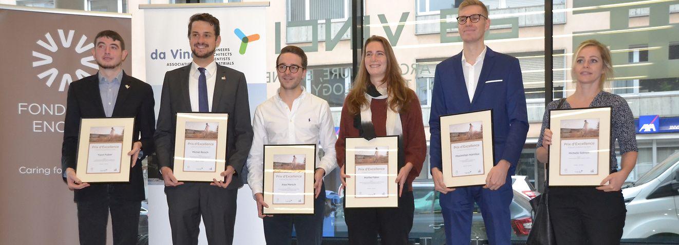 """Die sechs Preisträger des diesjährigen """"Prix d'excellence"""" der Stiftung Enovos. / Foto: Frank WEYRICH"""