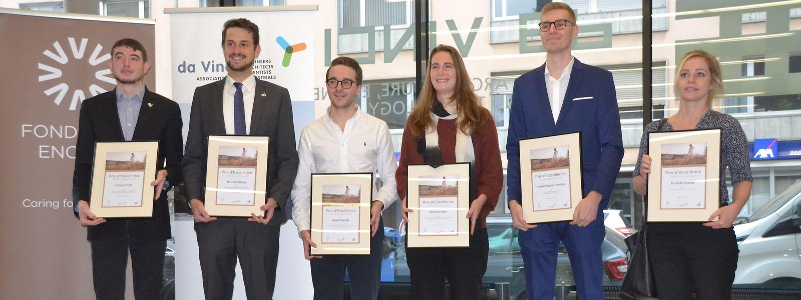 """Die sechs Preisträger des diesjährigen """"Prix d'excellence"""" der Stiftung Enovos."""