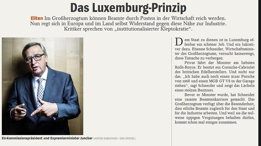 """Unter dem Titel """"Das Luxemburg-Prinzip"""" berichtet """"Der Spiegel"""" über die Nebeneinkünfte von Beamten in der Privatwirtschaft."""
