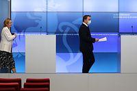 Auf dem Weg in die Nach-Notstandszeit: Gesundheitsministerin Paulette Lenert, Premierminister Xavier Bettel.