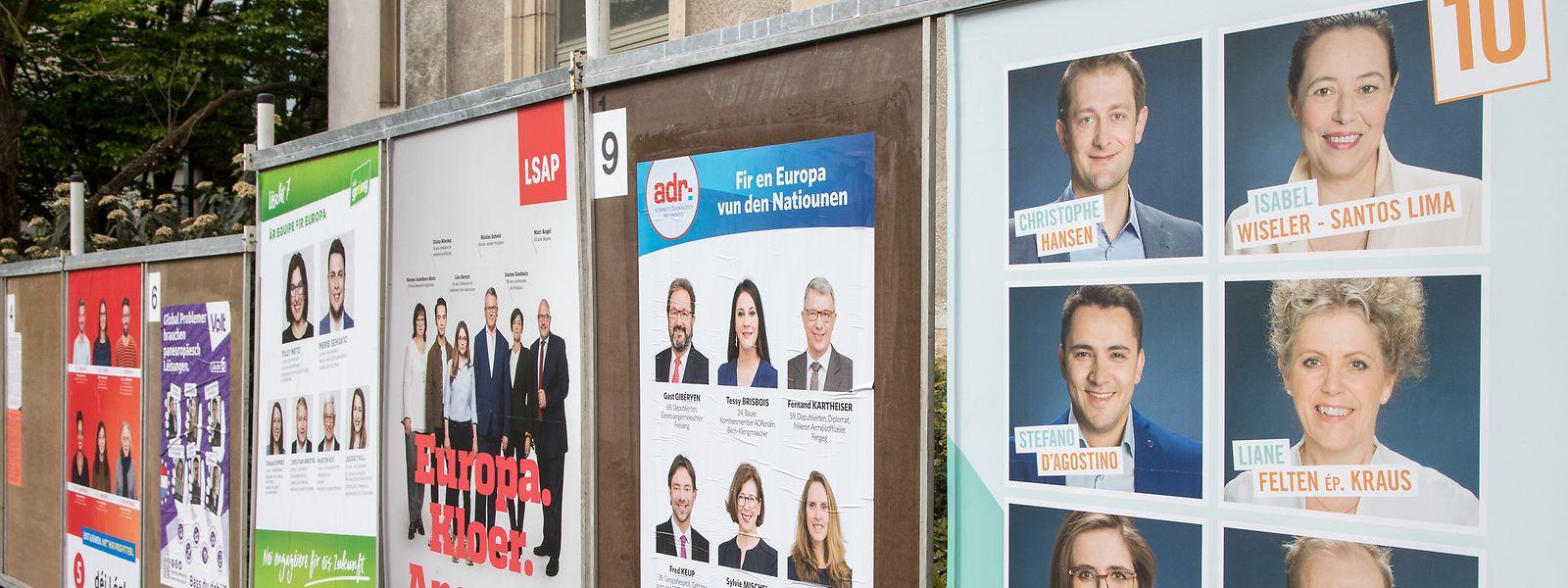 Der Schilderwald für die EU-Wahlen wächst in Luxemburg langsam an.