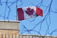 Die kanadische Fahne über der kanadischen Botschaft in Peking.Die Spannungen zwischen den beiden Ländern nehmen zu.