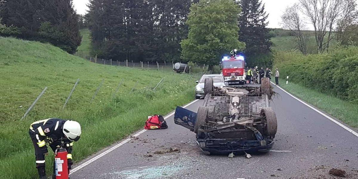 Glück im Unglück hatte der Fahrer dieses Unfallwagens.