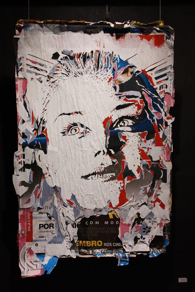 """Obras de Vhils expostas em Differdange, em 2012, no âmbito da exposição """"Out of Line"""""""