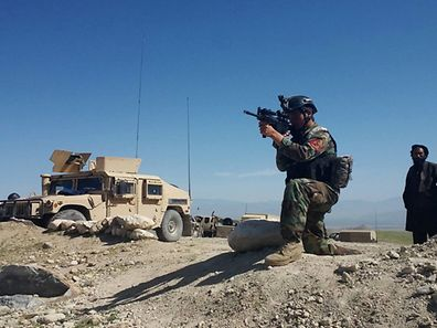 A member of Afghanistan's special forces in Achin district of Nangarhar province, eastern Afghanistan