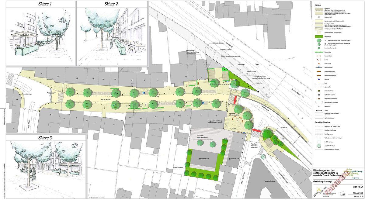 Das Konzept sieht Behinderten- und Lieferantenparkplätze in der Rue de la Gare vor. Ansonsten ersetzen Bäume die Parkstreifen.