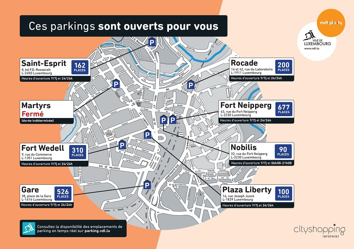 Voici la liste des parkings gérés par la Ville de Luxembourg elle-même.
