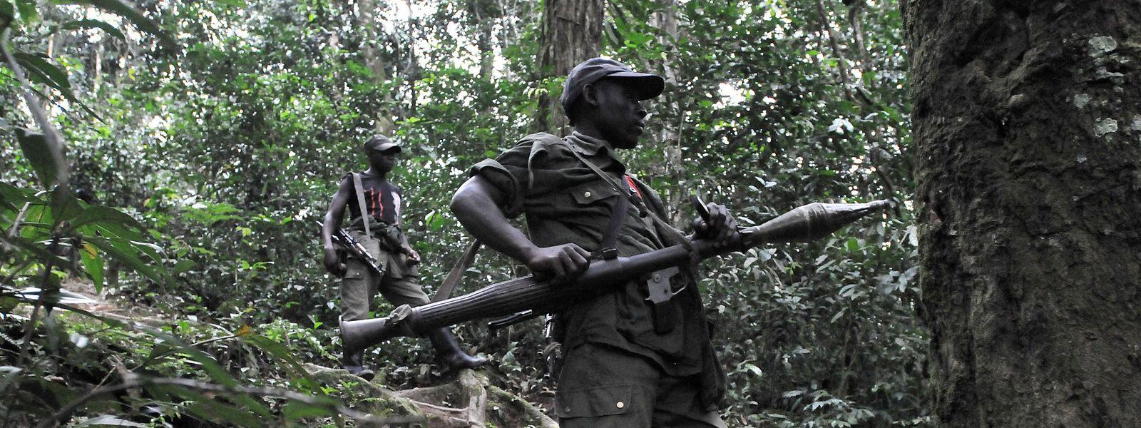Schwer bewaffnete ruandische Hutu-Rebellen patrouillieren im dichten Urwald.