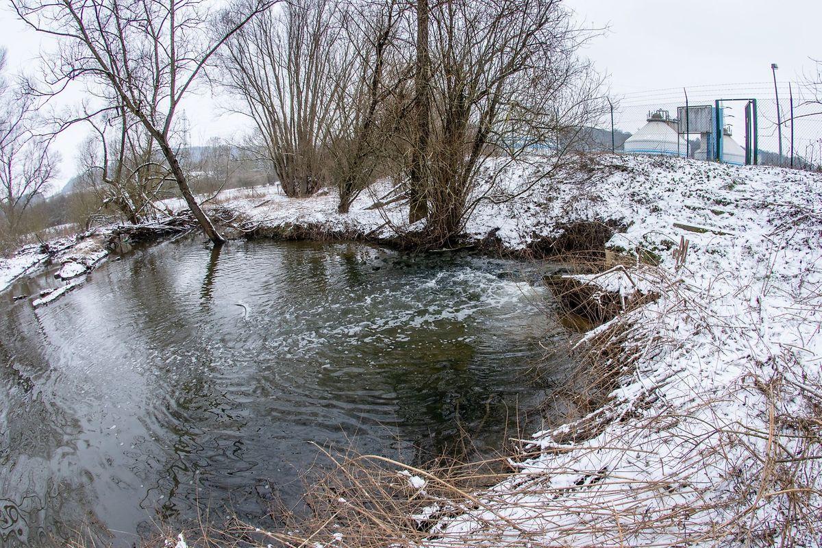 À cet endroit, les eaux usées traitées de la station d'épuration de Pétange sont évacuées dans la Chiers