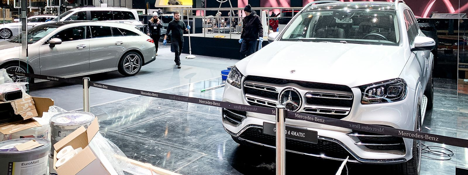 Der für den 90. Genfer Autosalon vorbereitete Stand von Mercedes-Benz im Palexpo. Der Genfer Autosalon fällt dem Corona-Virus zum Opfer.