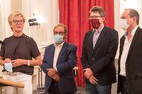 IPO.Oppositionsbriefing.Cercle City. Martine Hansen,Sven Clement ,Marc Baum,Gast Gybérien. Foto: Gerry Huberty/Luxemburger Wort