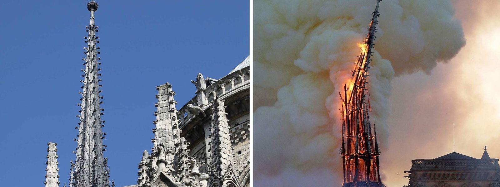 Der Spitzturm der Kathedrale auf einem Archivbild aus dem Jahr 2018 (l.) und während des verheerenden Brands am Montag. Der 93 Meter hohe Turm stürzte bei dem Feuer ein.