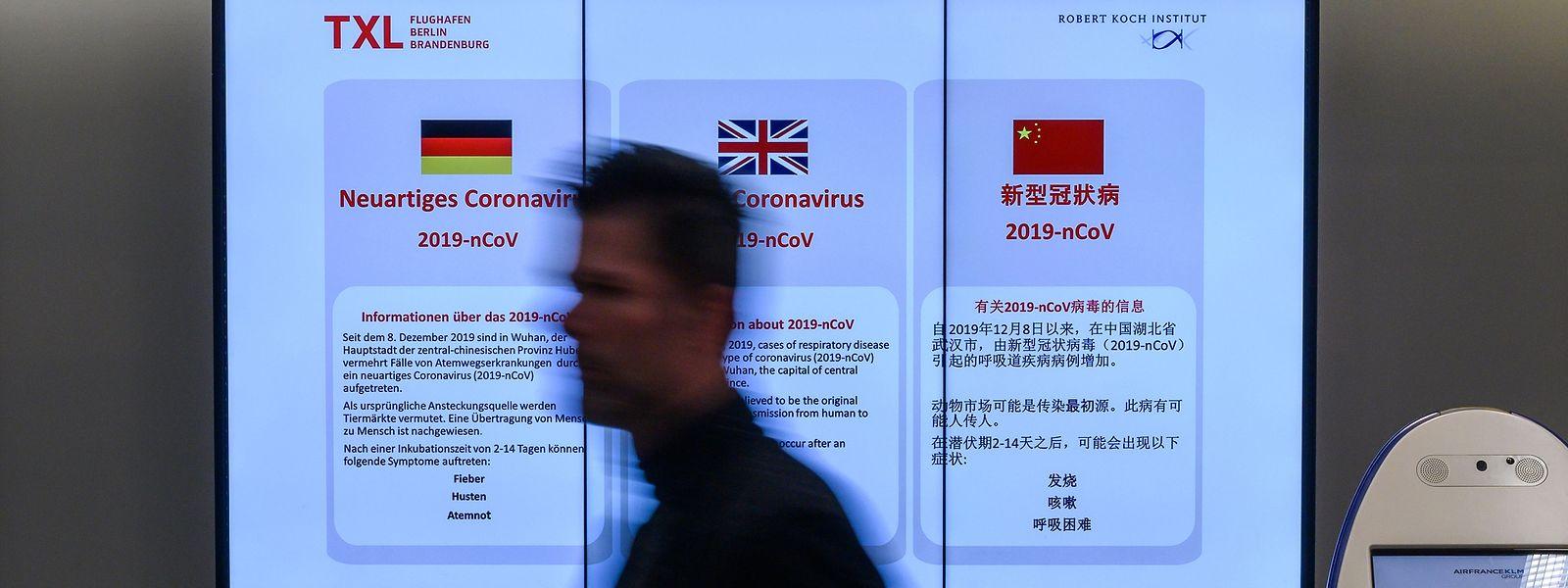 Informação sobre o novo vírus no aeroporto de Berlim.