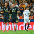TOPSHOT - Juventus' Portuguese forward Cristiano Ronaldo (L) reacts next to Juventus' Italian midfielder Federico Bernardeschi after receiving a red card during the UEFA Champions League group H football match between Valencia CF and Juventus FC at the Mestalla stadium in Valencia on September 19, 2018. (Photo by JOSE JORDAN / AFP)